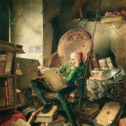 Don Quixote in the Library by Adolf Schrödter, 1834