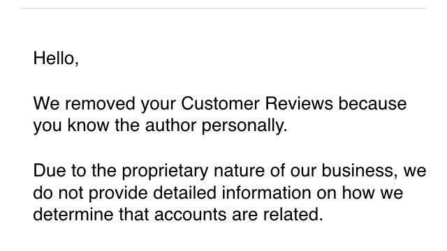 Amazon review removal